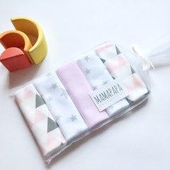 MamaPapa. Набор платочков-слюнявчиков 5 шт., треугольники розовые
