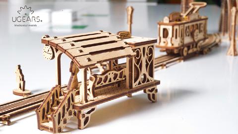 Трамвайная линия Ugears - деревянный конструктор, сборная модель, 3D пазл