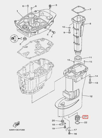 Втулка вертикального вала для лодочного мотора F20 Sea-PRO (21-21)