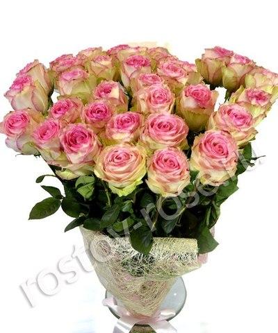 Букет 15 бело-розовых роз (Зквадор)