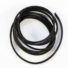 Шнур замшевый (искусств), 3х1,5 мм, цвет - черный, примерно 1 м