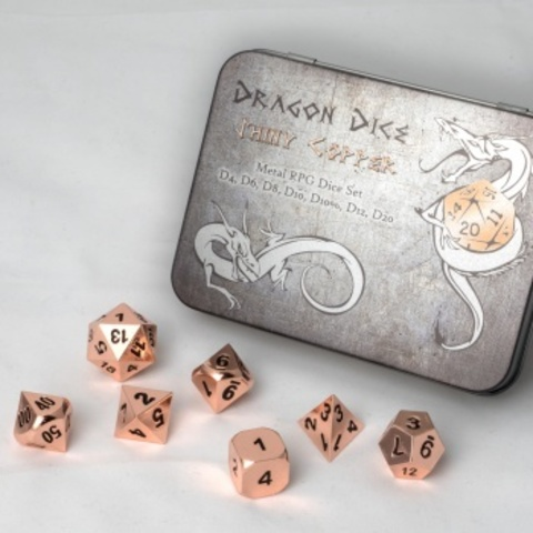 Blackfire Dice Metal Dice Set Copper (7 Dice)