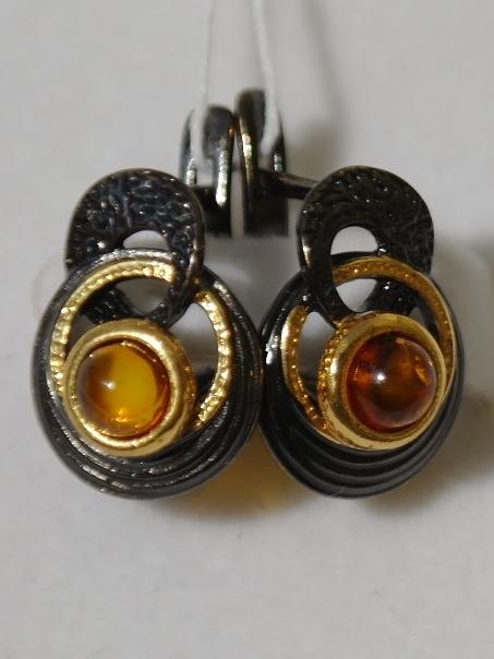 Джотта-черный ( серьги из серебра)