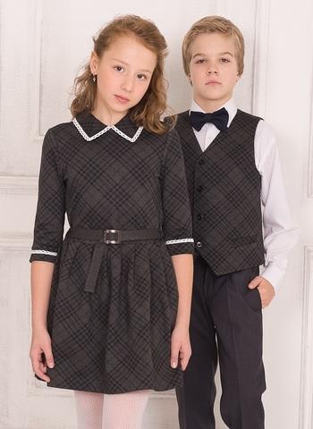 Пт-23,0 Баловень Школьное платье для девочки серое в клетку