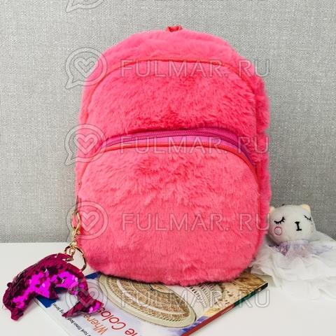 Рюкзак плюшевый Розовый и брелок дельфин с двусторонними пайетками