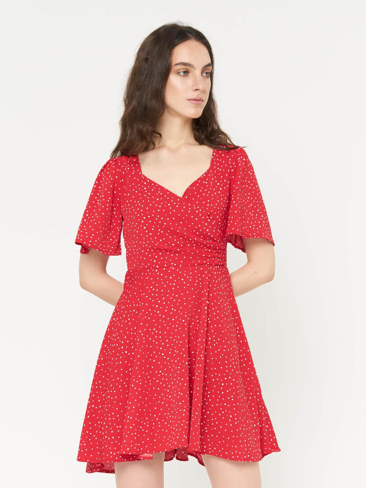 Платье мини в горошек