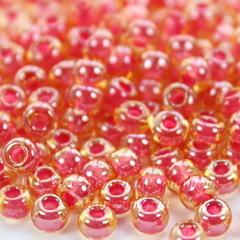 11396 Бисер 6/0 Preciosa прозрачный глянцевый золотистый с розовым центром