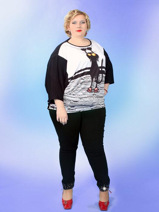 Большие размеры летних черных брюк женщине