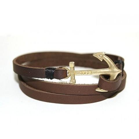 Кожаный браслет коричневый с якорем TRONIN N-33BR