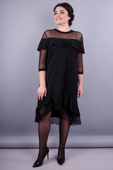 Лика. Стильное платье супер сайз для женщин. Черный.