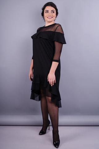 Ліка. Стильна сукня плюс сайз для жінок. Чорний.