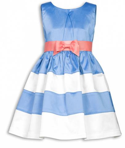 Pelican GWDV3015  Платье для девочек нарядное сатиновое голубое