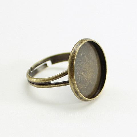 Основа для кольца с сеттингом для кабошона 16 мм (цвет - античная бронза)