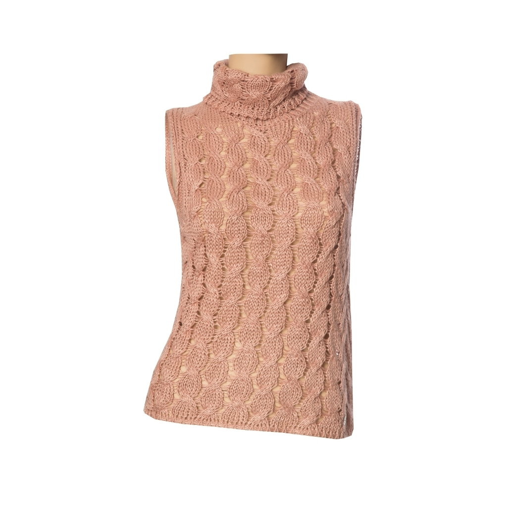 Прекрасный вязаный топ цвета «чайной розы» от Chanel, 38 размер.
