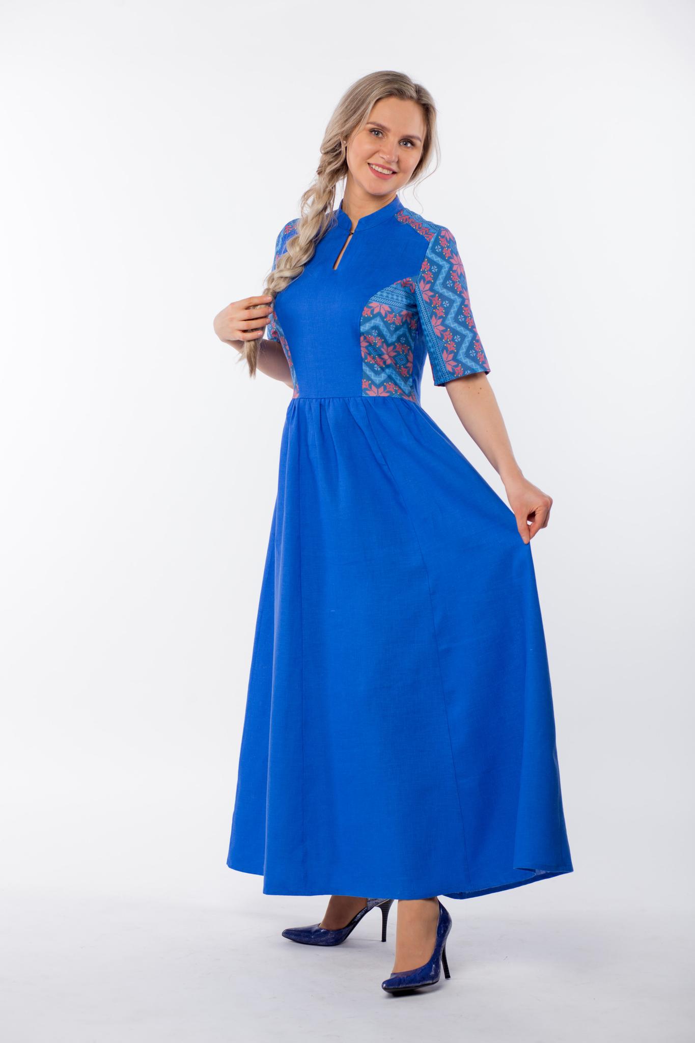 Платье Вольная вода макси вид сбоку без пояса