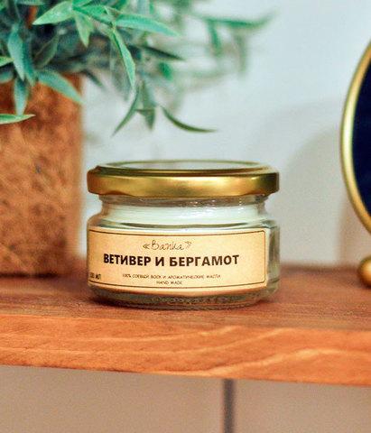Свеча ароматическая Ветивер и бергамот, Banka home