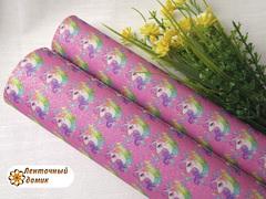 Эко-кожа Радужный Единорог на розовом глиттере 19*25 см НЕФОРМАТ