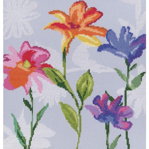 Название по-русски:Цветы радуги¶Размер кадра, см:27,5х28¶Тип канвы, каунт:Аида 14¶Клеток на см:5