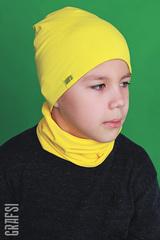 005К Шапка двухсторонняя, двухслойная с жаккардовой этикеткой. Голубая/желтая.