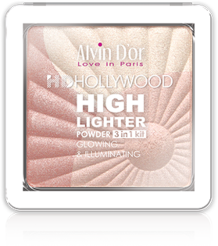 Alvin D`or Пудровый хайлайтер (тон 02) 3х1 Glow Illuminating Hd Hollywod HL-01
