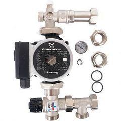 Насосно-смесительный узел с термостатическим клапаном 20-43°C жидкокристаллическим термометром, с насосом UPSO 25-65, 130 mm Stout