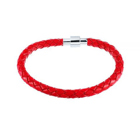 Кожаный браслет красный JV 232-0121