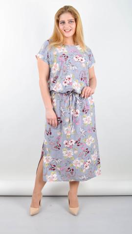 Мрия. Летнее платье больших размеров. Бабочки на сером.