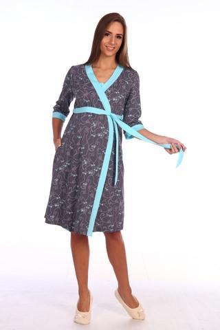 Мамаландия. Халат для беременных и кормящих на запах, темно-серый/бирюза
