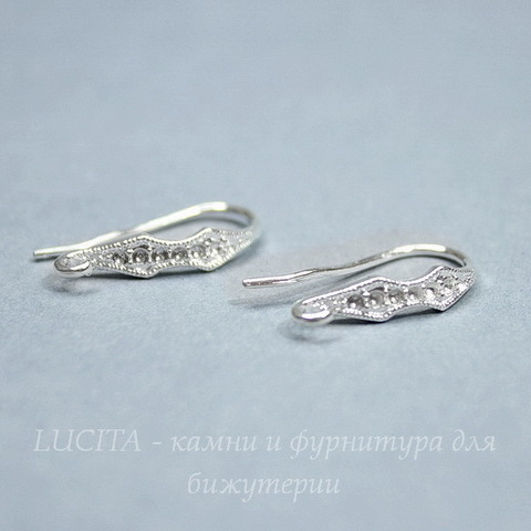"""Швензы - крючки """"Ромбики"""", 18х9 мм (цвет - серебро), пара"""
