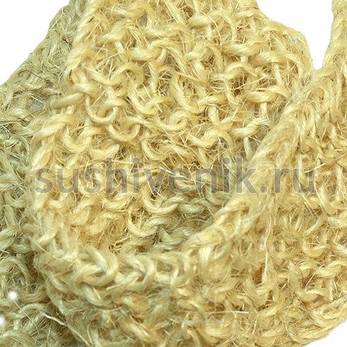 Мочалка из сизаля крупной вязки с деревянными ручками