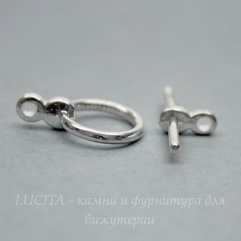 "Замок - тоггл из 2х частей ""Кольцо простое"" (цвет - серебро) 17х12 мм , 19 мм"
