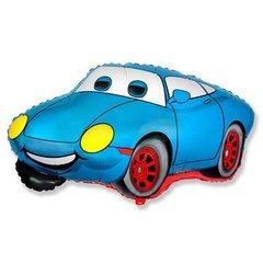 Фольгированный воздушный шар Гоночная машина. Синяя.