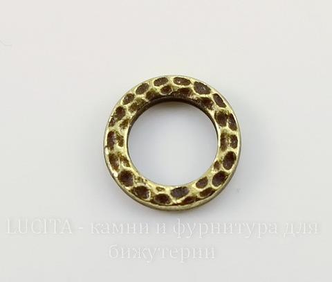 """Коннектор - кольцо TierraCast """"Hammertone"""" 9 мм (цвет-античная латунь)"""