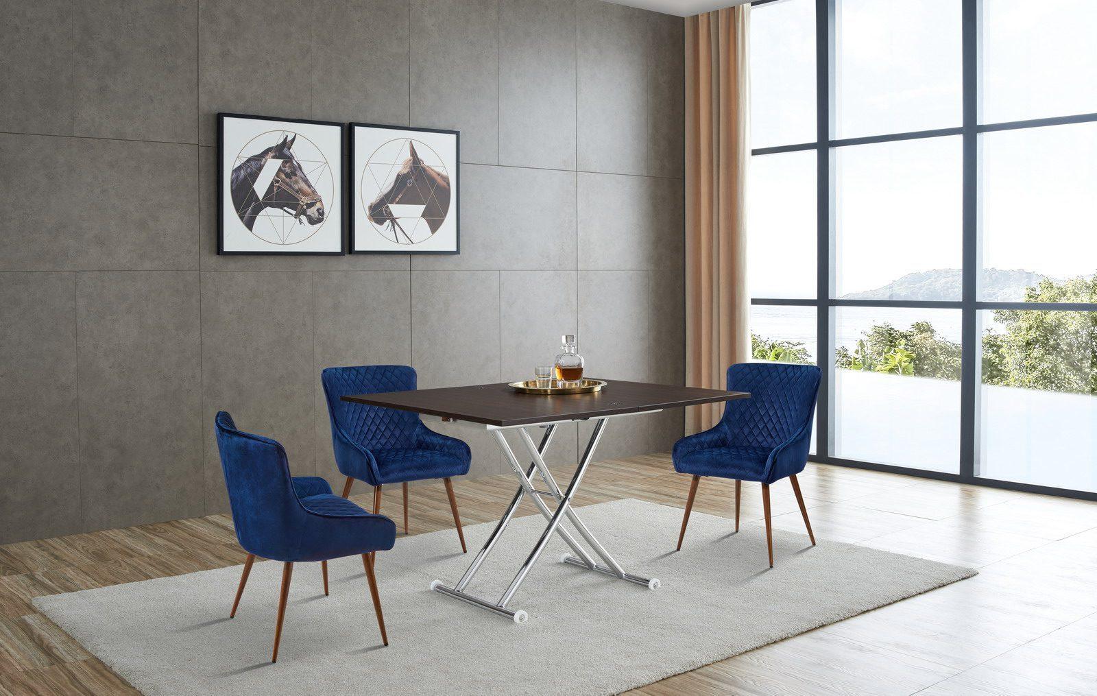 Стол-трансформер ESF В2219 AG венге и стулья 9-19A синии (blue)