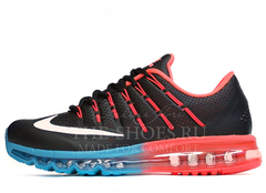 Кроссовки Мужские Nike Air Max 2016 Black Blue Red Leather