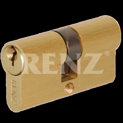 Фурнитура - Цилиндр Замка обычный Renz СS 60, цвет латунь блестящая