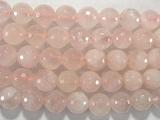 Нить бусин из кварца розового, фигурные, 12 мм (шар, граненые)