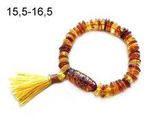 браслет из разноцветного янтаря с кисточкой в стиле бохо