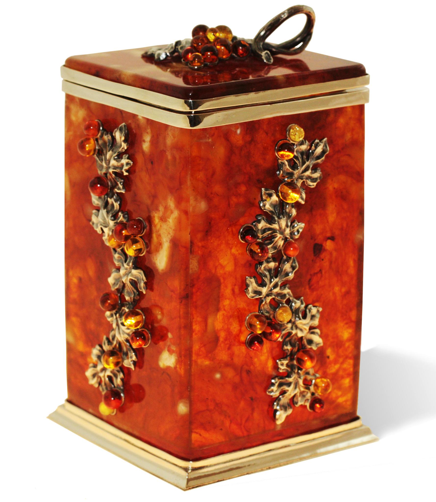 """Коробка для хранения чая в наборе с ложечкой, янтарь, серия """"Виноград"""" от 27 420 руб"""