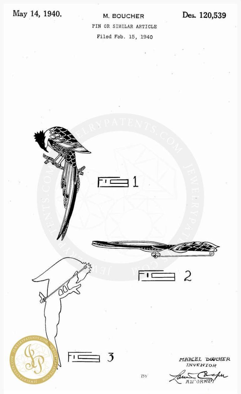 """Коллекционная брошь """"Птица"""" от Boucher, 1940 г. Book piece"""