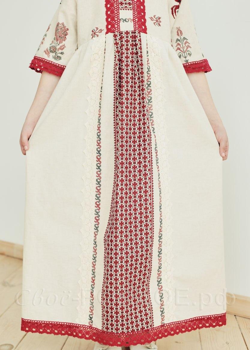 Платье льняное Петухи 03 юбка