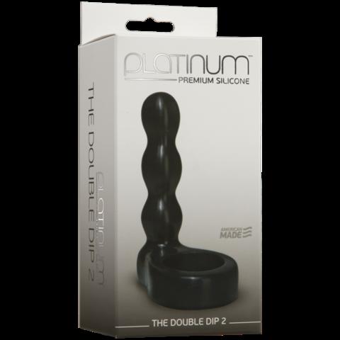 Насадка на пенис, Анальный фаллоимитатор с эрекционным кольцом Platinum Premium Silicone - The Double Dip 2 - Black фото