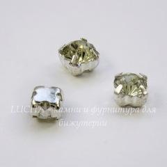 Стразы в цапах Crystal 5х5 мм (цвет - серебро), 10 шт