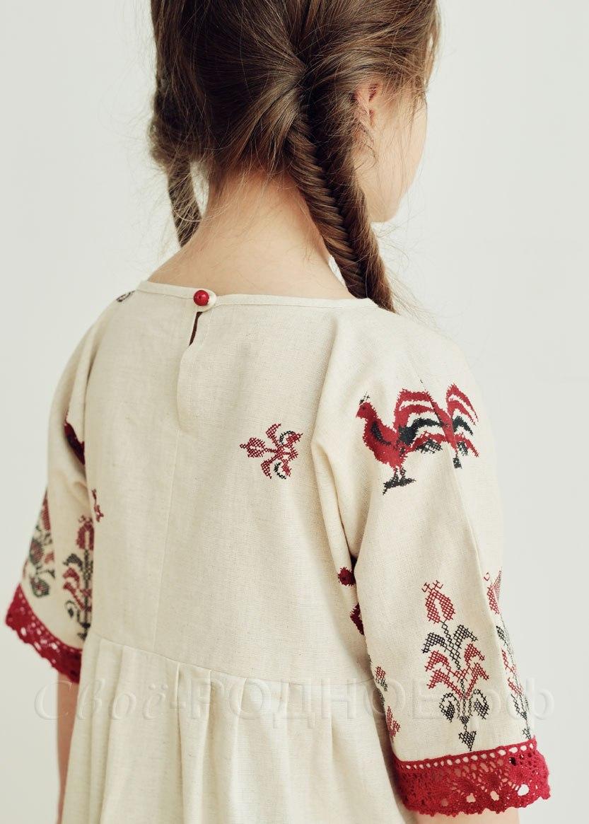 Платье льняное Петухи 03 спинка