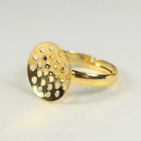 Основа для кольца с площадкой 14 мм (цвет - золото)