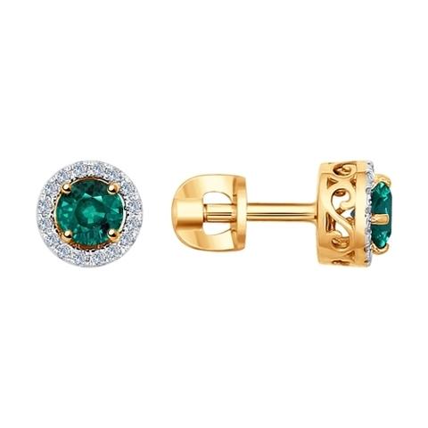 3020432 - Серьги из золота с бриллиантами и изумрудами