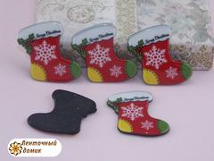 Плоский  декор Рождественский сапог на черном фоне (глянец)