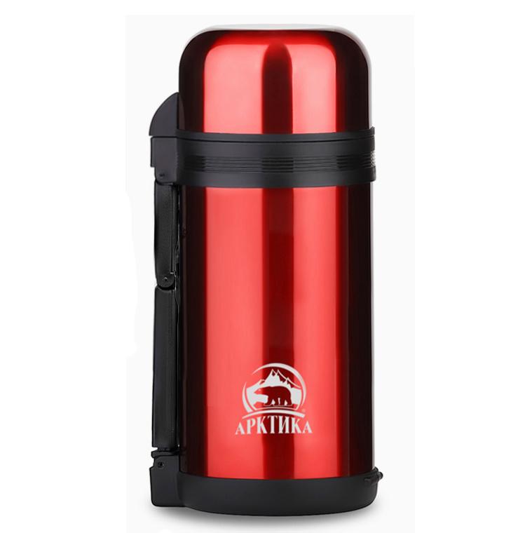 Термос универсальный (для еды и напитков) Арктика (1,2 литра) с широким горлом, красный