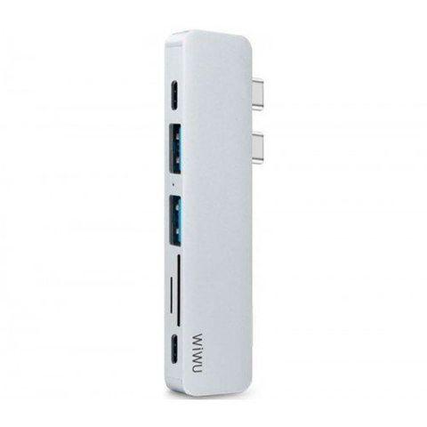 Переходник adapter USB Type C 7in1 Wiwu T8 /silver/