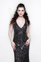 Julia 12088 Черное платье длинное, расшитое пайетками и бисером, спина открытая, элегантный шлейф